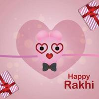 tarjeta de felicitación de celebración feliz raksha bandhan con rakhi creativo vector
