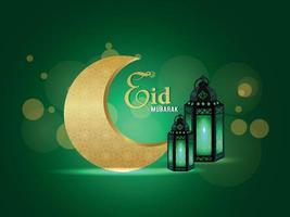 Tarjeta de felicitación de celebración de eid mubarak con linternas vectoriales sobre fondo de patrón vector