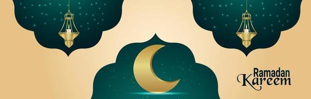 banner de invitación al festival islámico ramadan kareem con luna dorada realista y linternas vector