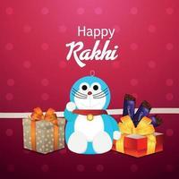 Tarjeta de felicitación de invitación de celebración de rakhi feliz con niños creativos vector