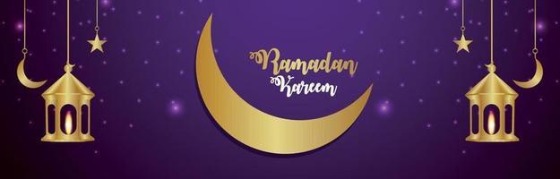 Ramadan kareem islamic festival invitation banner with realistic golden moon and lantern vector