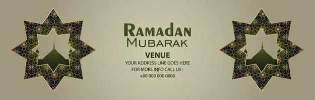 Banner de celebración de Ramadán Kareem sobre fondo de patrón vector