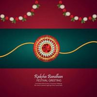 Tarjeta de felicitación de celebración raksha bandhan con regalos vectoriales vector