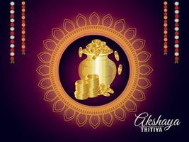 tarjeta de felicitación de celebración akshaya tritiya con olla de monedas de oro vector