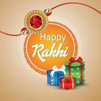 celebración del festival hindú de la tarjeta de felicitación feliz raksha bandhan con regalos coloridos creativos y rakhi de cristal vector