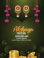 Vector illustration of akshaya tritiya celebration greeting card with gold earrings