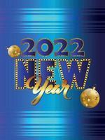 Happy new year 2022 celebration flyer vector