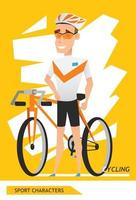 Sport characters cycling player vector design