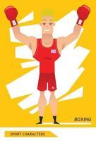 diseño de vector de jugador de boxeo de personajes deportivos