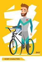 diseño de vector de jugador de ciclista de personajes deportivos