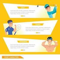 info gráfico deporte golf, tenis y natación vector