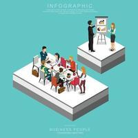 ISOMETRIC BUSINESS PEOPLE TEAMWORK MEETING vector