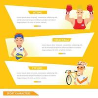 info graphic sport boxing, volleyball and cycling vector