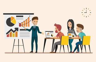Business meeting. Teamwork shared working vector