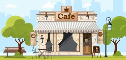 Coffee house. Facade of a coffee shop store or cafe. City street background. Vector illustration