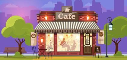 cafetería. fachada de una tienda de café o cafetería. fondo de la calle de la ciudad. ilustración vectorial vector