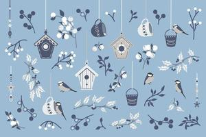 Collection of birds and branches. vector
