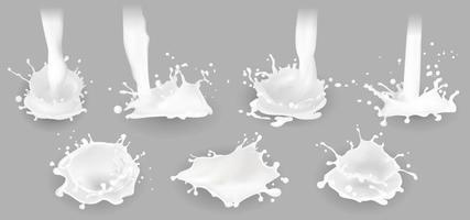 Milk splashes, drops and blots. Vector illustration.