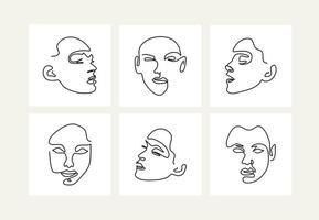conjunto de retratos femeninos. dibujo de una línea. vector