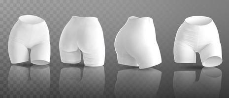 Maqueta de pantalones cortos de ciclismo para mujer en diferentes posiciones. ilustración vectorial vector