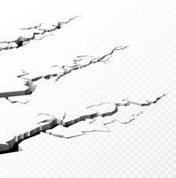 Set of cracked concrete ground. Vector illustration.