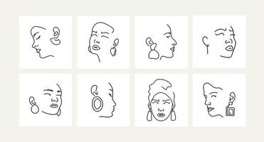 Set of female portraits with earrings. Line drawing. vector