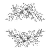 Lily swag. Flower border. Floral frame. vector