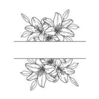 Lily monogram. Flower border. Floral frame. vector