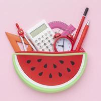School supplies in watermelon bag photo