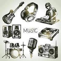 elementos dibujados a mano de dj: guitarra, auriculares, parlantes, micrófono vector