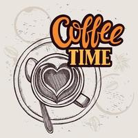 Coffee poster for restaurant and cafe - coffee time text vector