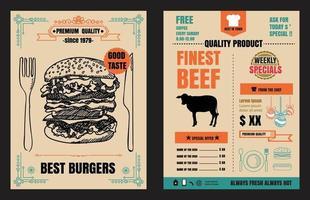 Restaurant Fast Foods menu burger on chalkboard background vector format eps10