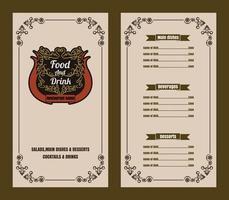 Restaurant Food Menu Vintage Typographic Design  with line icon Chalkboard Background vector format eps10