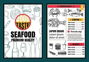 Brochure or poster Restaurant  seafood menu with Chalkboard Background vector format eps10