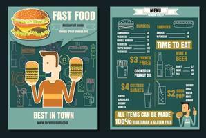 Brochure or poster Restaurant fast foods burger menu with people vector format eps10
