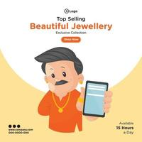 Banner design of selling beautiful top jewellery cartoon style template vector