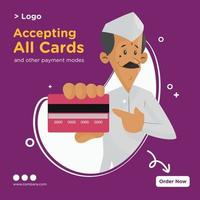 Banner design of accepting all cards and other payment modes cartoon style template vector