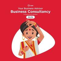 Banner design of professional and reliable business consultancy cartoon style template vector