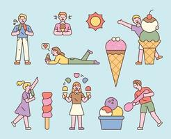 People are enjoying several types of ice cream. flat design style minimal vector illustration.