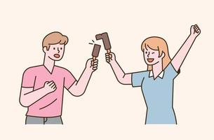 A couple is eating ice cream by splitting it in half. flat design style minimal vector illustration.