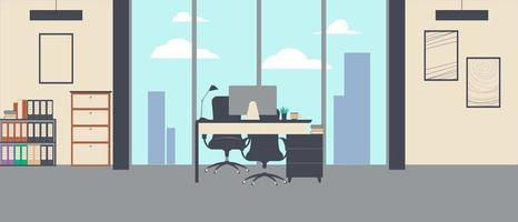Single desk with desktop and ergonomic chair in the room vector