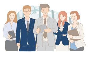 Business management five person team vector