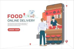 concepto de entrega de alimentos en línea vector