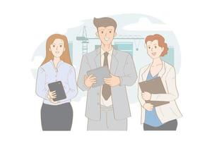 Corporate business team with man and women vector