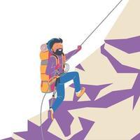 Mountaineer on the mountain vector