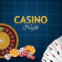 Casino night gambling game with vip luxury playing cards, casino chips and dices vector