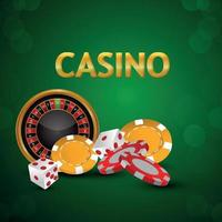 Casino gambling game with casino chips, roulette wheel with dice on green background vector