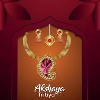 Tarjeta de felicitación de celebración akshaya tritiya con collar de oro sobre fondo creativo vector