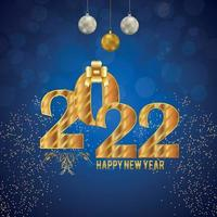 Happy new year invitation greeting card with golden text effect on blue background vector