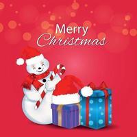 Ilustración de vector de tarjeta de felicitación de invitación de feliz navidad con regalos creativos y bolas de nieve